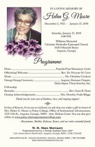 Funeral Service for Soror Helen G. Moore @ Williams Memorial CME Church