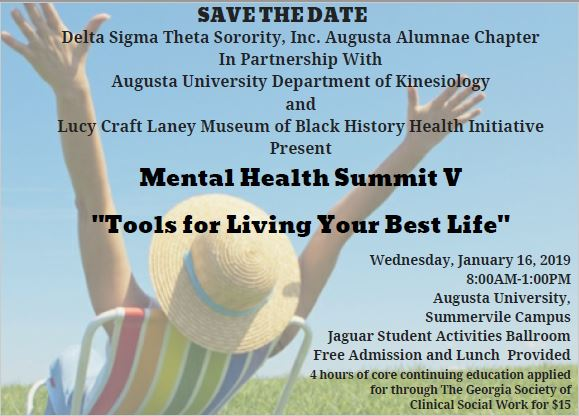 """Mental Health Summit V """"Tools for Living Your Best Life"""" @ Augusta University, Summerville Campus"""