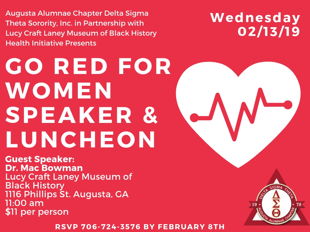 """Go Red For Women"" Speaker and Luncheon @ Lucy Craft Laney Museum of Black History"