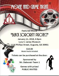 Movie Game Night Sponsored by Mr. Debonair Team 1 @ Lucy Craft Laney Museum